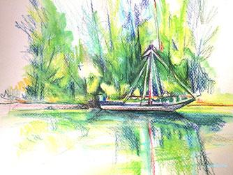 bord de loire, severine saint-maurice, lescerclesdelumiere.com, dessin, dessin en plein air