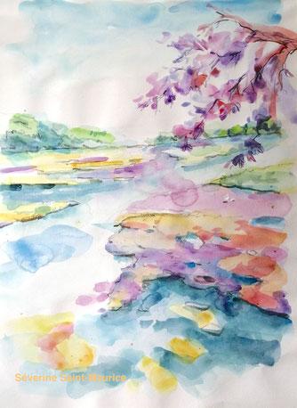 bords de loire, severine saint-maurice, lescerclesdelumiere.com, dessin, dessin en plein air