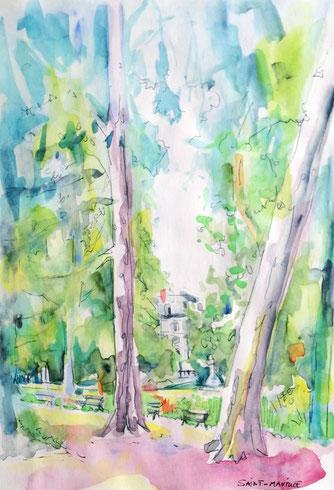 jardin des prebendes, severine saint-maurice, lescerclesdelumiere.com, dessin, dessin en plein air