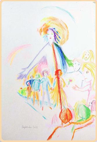 severine saint-maurice, lescerclesdelumiere.com, dessin spirituel, incarnation, âmes