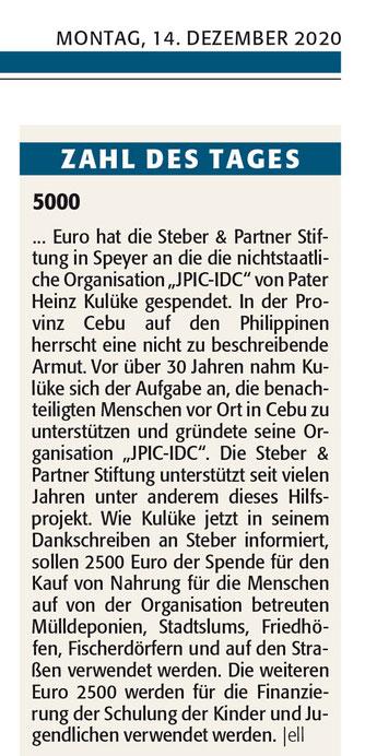 Artikel Rheinpfalz / Speyerer Rundschau 14. 12.2020