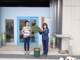 植木でできた魚のトピアリーと一緒に記念写真