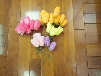 造花の染め作業