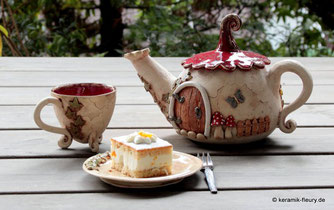 Keramik Fleury Keramik Geschirr Tassen Teller Schalen Kannen