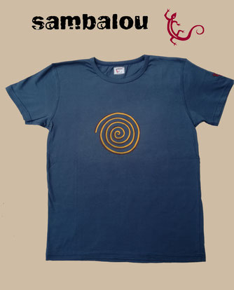 "Sambalou T-shirt 100% coton biologique / article : T-shirt ""Spirale"" blue grey"