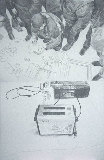 Selina Saranova, THE GLOBAL PLAYERS 1, 100X70cm., pencil on paper
