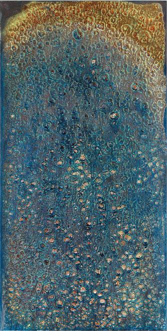 Ty Waltinger, Phtaloblau und Zinkgelb in Rost und Regen, 2019,  Öl-Inversionen mit Erdteig, 80 x 40 cm
