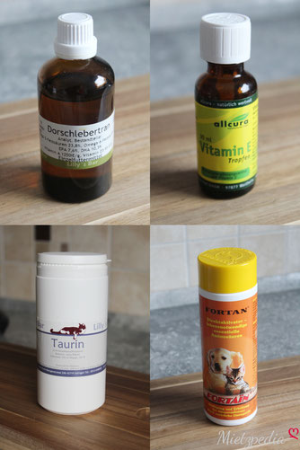 v.l.n.r: Dorschlebertran, Vitamin E Tropfen, Taurin, Fortain