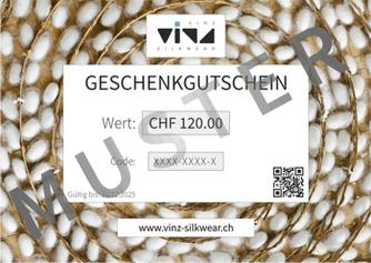 Geschenkgutschein von VINZ silkwear - edle Seidenunterwäsche schenken.