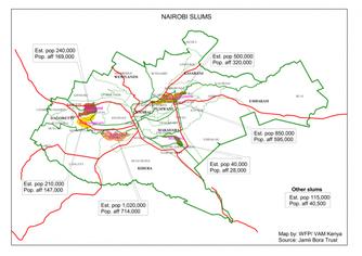 Mappa slums a Nairobi, Kenya