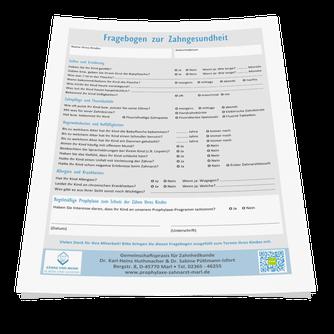 Fragebogen zur Zahngesundheit Ihres Kindes. Bitte herunterladen, ausdrucken, ausfüllen und mit in die Praxis bringen. Klicken Sie links auf das PDF-Symbol!