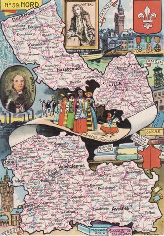Recto d'une carte postale timbrée envoyée depuis le Nord