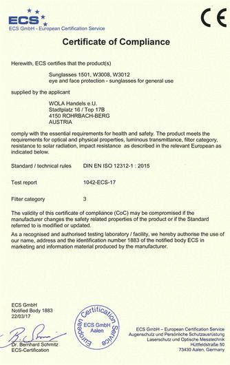WOLA Holz Sonnenbrillen Zertifikat of Compliance