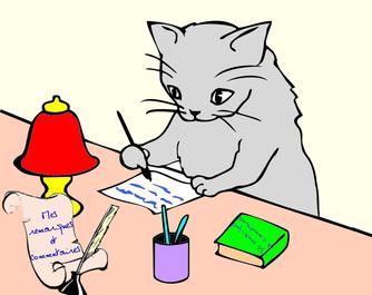 Chat qui ecrit canicoiff