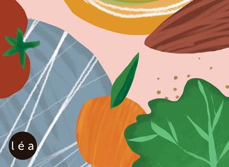 Illustration de tomate, melon, orange, salade et viande