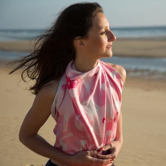 Foulard Soie estival rose Biarritz Fanfaron