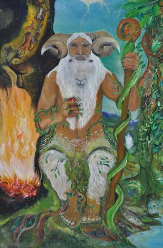 """""""Ahari"""", junto al incadescente inframundo en el que se gestan todas las criaturas vivientes. En su mano izquierda sostiene un cayado con cabeza de dragón (Sugaar) y en su mano derecha, frutos de tejo. Pintura de Paz Treuquil."""
