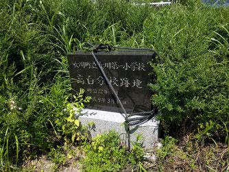 草むらの中にひっそりとある記念碑