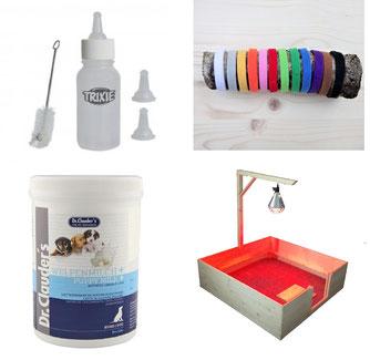 Welpenhalsbänder aus Klett, Wärmelampe und Galgen, Welpenmilch, Saugflasche von welpen-wurfkiste.de