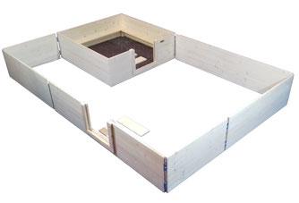 Wurfbox von welpen-wurfkiste.de mit Auslauf aus Massivholz und Steckscharnieren
