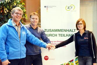 Die Arbeitsgruppe: Markus Pagel, NABU; Thomas Haas, ev. Akademie Bad Boll und Rebecca Frank, JUH