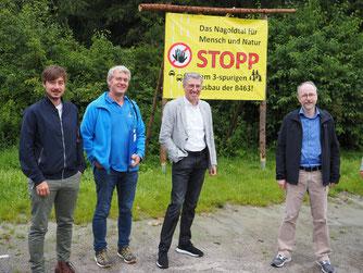 v.L.: Patrick Maier, BUND; Carsten Lachenauer, Bürgermeister Unterreichenbach; Markus Pagel, NABU; Matthias Gastel, MdB