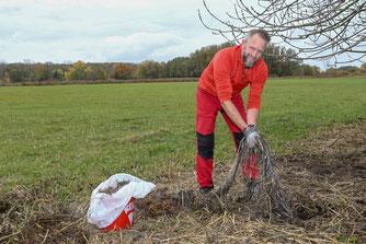 Olaf räumt in den Bruchwiesen auf-KAG Bruchwiesen im NABU