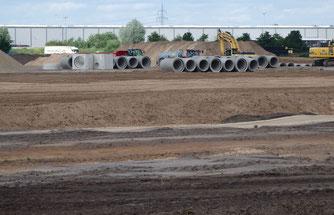 Derzeitiger Bau eines 18 Hektar großen Gewerbegebietes am Neuen Hessenweg im Ortsteil Gailhof
