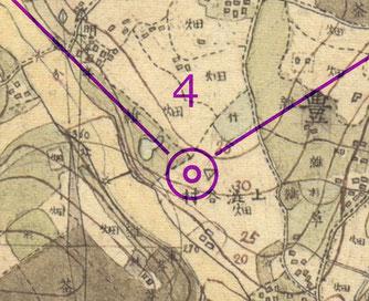 ○は国木田独歩の茅屋があった渋谷区神南である。独歩が「夕暮れに独り風吹く野に立てば、天外の富士近く、国境を巡る連山地平線上に黒し」と書いた光景を今の風景から思い起こすことは難しいが、この地図なら想像が付く!