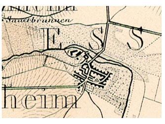 Plan des alten Dorheim - Die Wetter (Bildmitte) begrenzt Dorheim nach Norden, am unteren Rand der Breidenbach`sche Hof