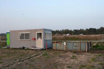 れんげいじ広場の3点セット トイレ、休憩所、堆肥置場