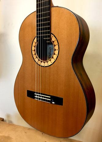 The Duoble top Cedar guitar with fine Brazilian Rosewood cassette.