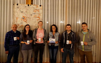 Neuer Vorstand v.l.n.r.: Helmut Raabe (Beisitzer) Susann Brendel ( Kassiererin), Janina Drude (1.V.), Karin Austermühl (2.V.), Julian Raabe (Beisitzer), Karsten Ulott (Jugendwart), Beisitzerrin Tina Raabe fehlt.
