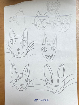 子供たちと描いた動物の顔