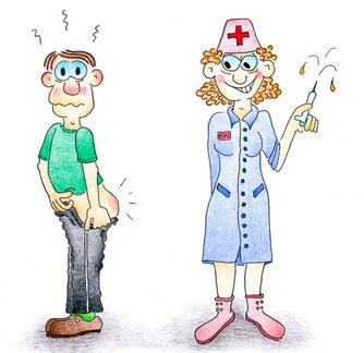Gute Besserungskarte Krankenschwester fies lächelnd mit Spritze, Patient mit nacktem Po