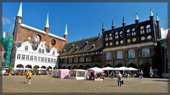 Blick auf Rathaus, Lübeck
