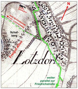 Der Lotzdorfer Kirchsteig (grün) in der Original-Karte von 1820 mit der Anbindung zum Schönborner Leichenweg.  Basiskarte: Meilenblatt dd_hstad-mf_0001674