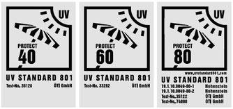 Sonnenschirme, Markisen und Sonnensegel sollten einen hohen UV Schutz bieten und nach dem UV-Schutz-Standard 801 geprüft sein