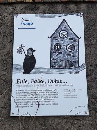 Unser Hinweisschild am Trafoturm, Foto: T. Disselhoff