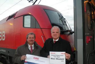 Verkehrsstadtrat Alfred Scheichel und Bgm. Prim. Dr. Reinhard Resch freuen sich auf den neuen Fahrplan.Foto: zVg
