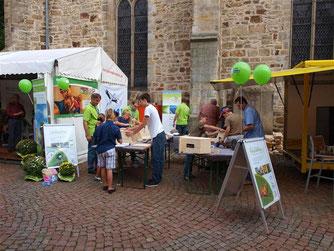 Der Stand der Stadtwerke und die Nisthilfen-Baustelle. - Foto: Kathy Büscher