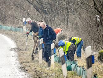 Ehrenamtliche Naturschützer beim Aufbau des 500 Meter langen Zaunes in Möllenbeck. - Foto: Kathy Büscher