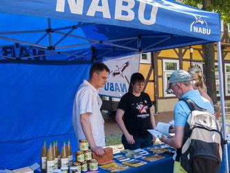 Besucher stöbern am Info-Stand des NABU Rinteln. - Foto: Kathy Büscher