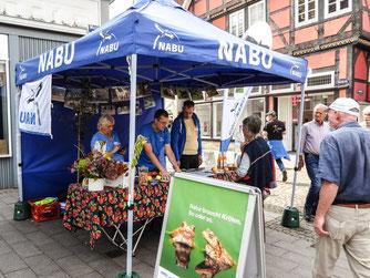 Der Infostand auf dem Marktplatz. - Foto: Kathy Büscher