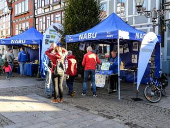Am Marktplatz waren Infostände von NABU-Gruppen aus ganz Niedersachsen zu finden. - Foto: Kathy Büscher