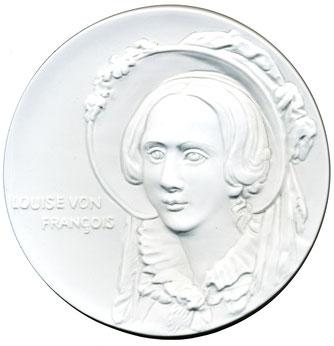 Porzellan-Medaille auf den 200. Geburtstag von Louise v. François herausgegeben von den Herzberger Münzfreunden e.V.