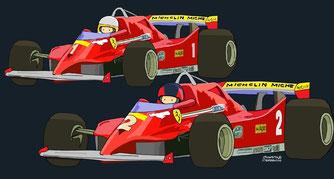 Gilles Villeneuve & Jody Scheckter by Muneta & Cerracín