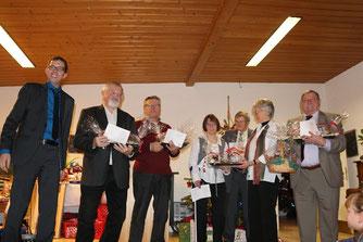 (v.l.n.r.: Jürgen Lindner, Albert Schmitt, Peter Peischer, Bianca Peischer, Klaus Bach, Waltraud Peischer und Karl Baur)