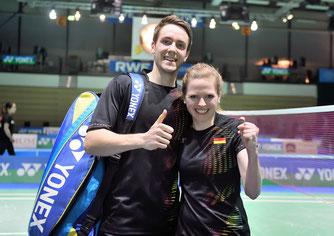 Die einzigen strahlenden SIeger des Tages: Mark Lamsfuß und Isabel Herttrich (Bild: Bernd Bauer)