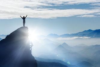 das Ziel erreicht, oben angekommen, frei sein, ohne Belastung,